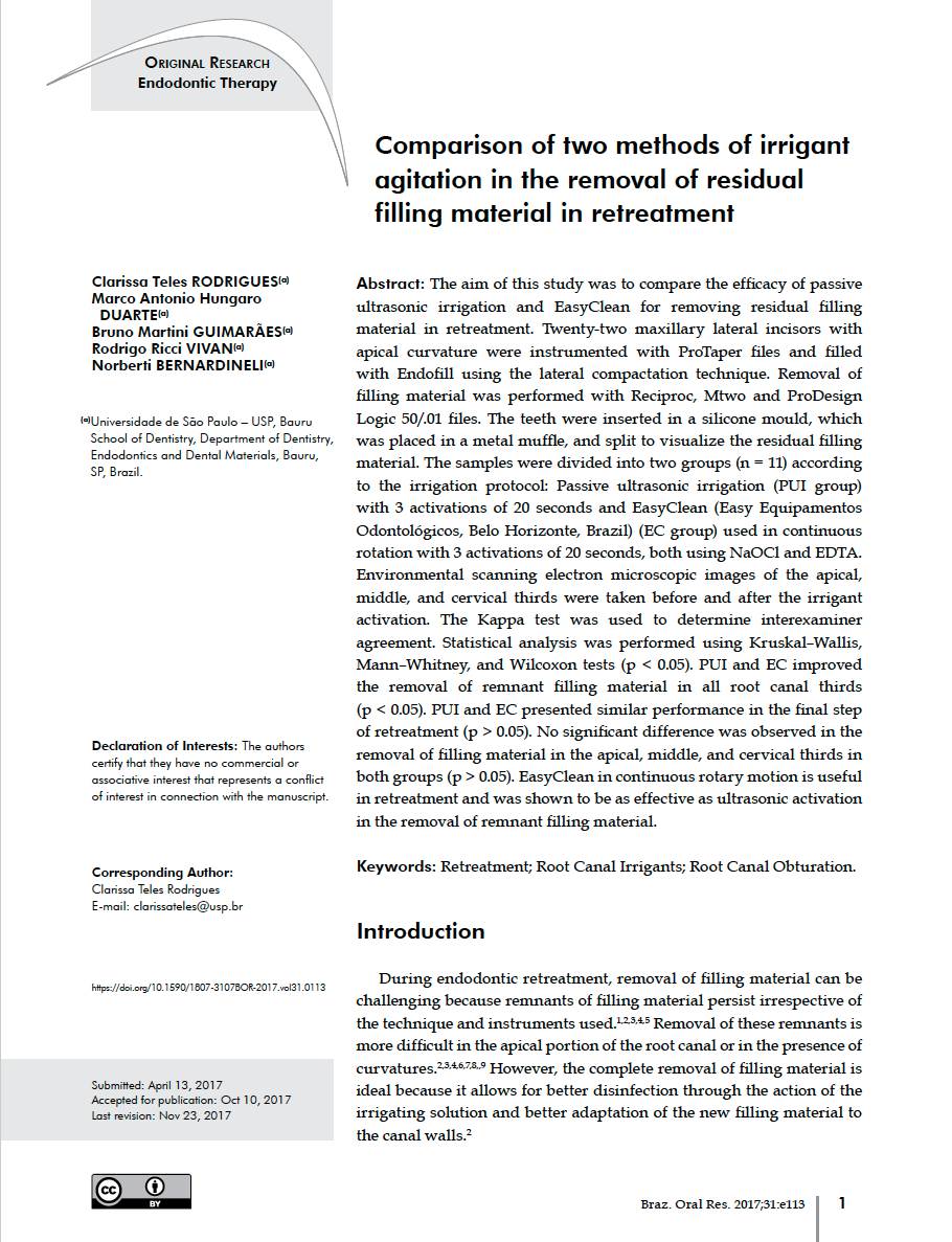 3d2d29f85ec STUDY  Brazilian Oral Research   Comparison of the removal of residual  filling material in retreatment