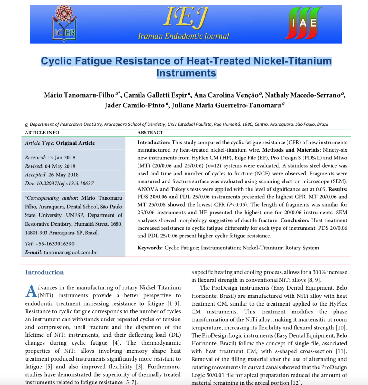 STUDY: Iranian Endodontic Journal: Cyclic Fatigue Resistance